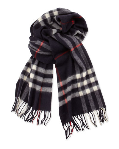 Burberry Men's Cashmere Giant Check Icon Scarf