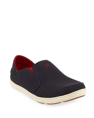OLUKAI Men'S Nohea Mesh Slip-On/Fold-Back Sneakers in Carbon/ Red