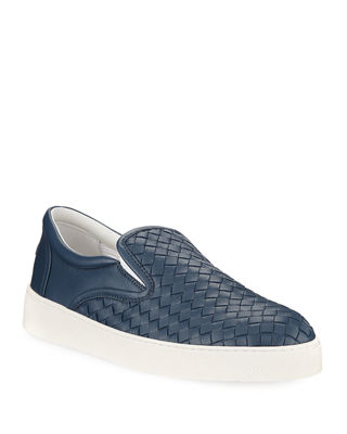 Woven Leather Slip-On Sneaker