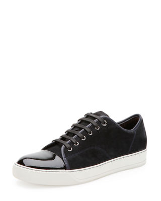 Lanvin Mens Suede & Patent Leather Low-Top Sneakers, Navy