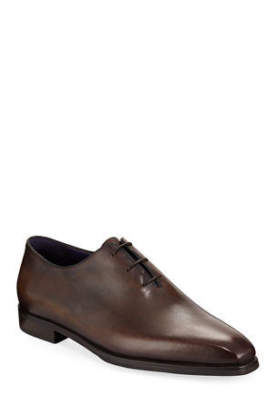 Berluti Alessandro Demesure Leather Oxfords with Leather Sole
