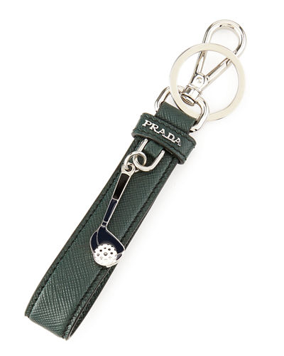 Saffiano Golf Charm Key Chain