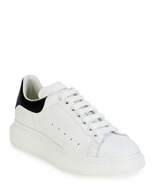 White Leather Oversize Sole Runner Sneakers, Ivory/Blk
