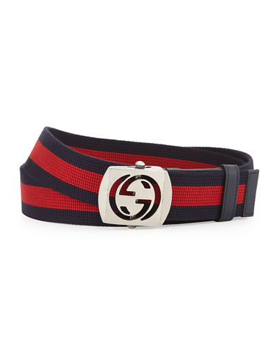 Gucci Canvas Belt with Cutout Buckle and Matching