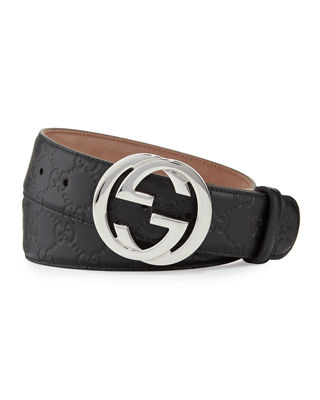 Interlocking G-Buckle Leather Belt in Black