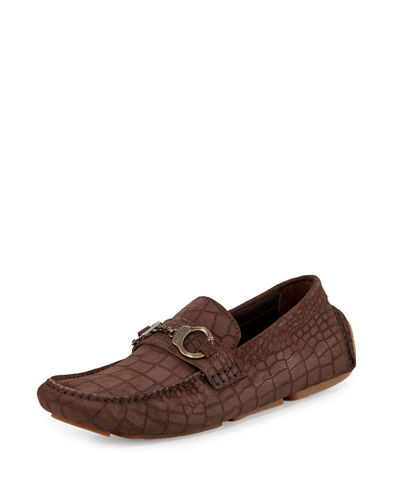 Brogan Men's Crocodile-Embossed Driver with Handcuff Detail