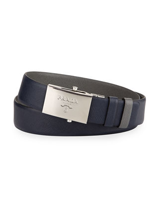 Prada Reversible Leather Plaque Belt