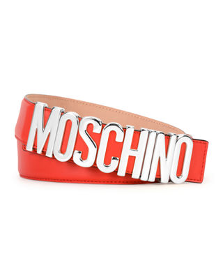Metal Logo Adjustable Leather Belt