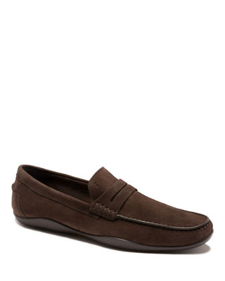 HARRYS OF LONDON Basel Suede Penny Loafer in Dark Brown
