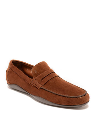 HARRYS OF LONDON Basel Kudu Suede Driving Shoes in Med.Brown