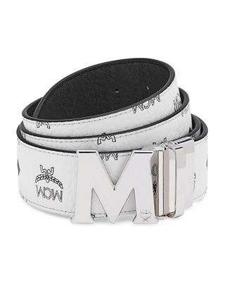 MCM Visetos Reversible M-Buckle Monogram Belt