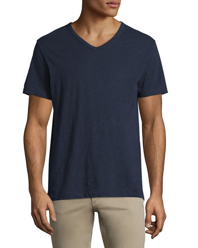 Slub Short-Sleeve V-Neck T-Shirt