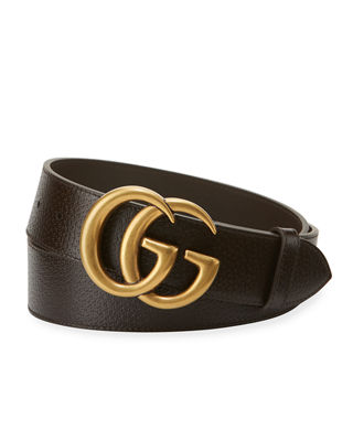 GUCCI Men'S Leather Belt With Double-G Buckle, Brown Leather