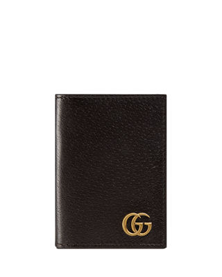 Image 1 of 4: GG Marmont Leather Fold-Over Card Case