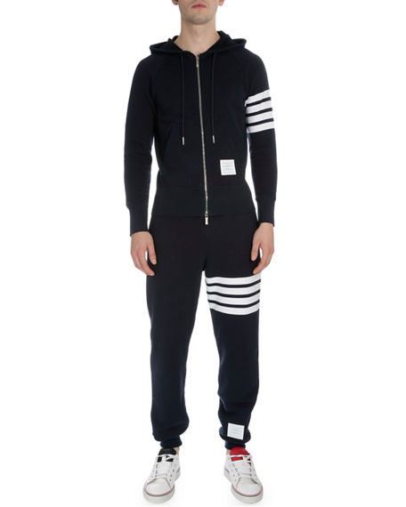 Image 2 of 3: Thom Browne Men's Classic Drawstring Sweatpants with Stripe Detail