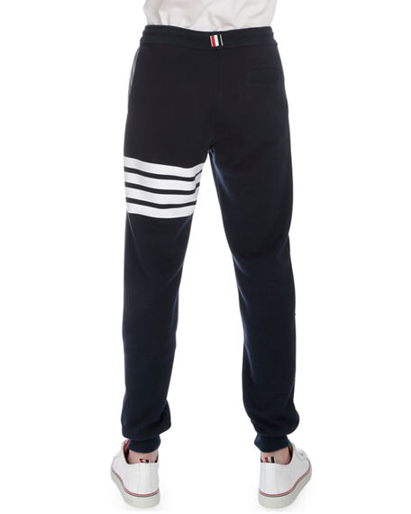 Image 3 of 3: Thom Browne Men's Classic Drawstring Sweatpants with Stripe Detail