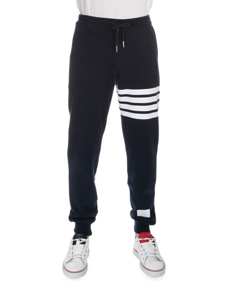 Image 1 of 3: Thom Browne Men's Classic Drawstring Sweatpants with Stripe Detail