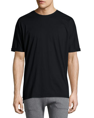 Cuffed-Sleeve Oversized Short-Sleeve T-Shirt, Black