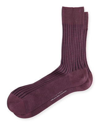 Falke Shadow-Stripe Knit Socks, Pink/Gry