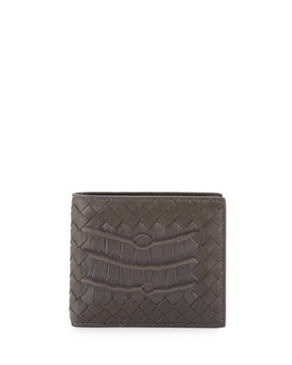 Bottega Veneta Intrecciato Leather Wallet w/Crocodile Inset
