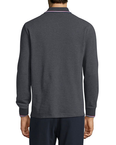 Tipped Long-Sleeve Polo Shirt