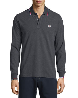 Moncler Tipped Long-Sleeve Polo Shirt