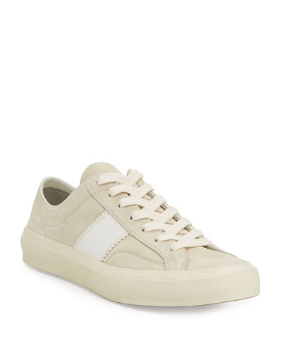 Men's Cambridge Suede Striped Low-Top Sneakers