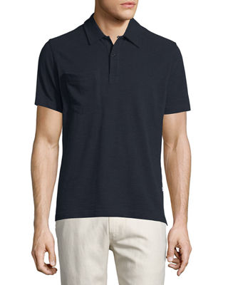 Billy Reid Solid Short-Sleeve Pique Polo Shirt