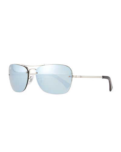 Metal Aviator Sunglasses W/Mirror Lenses