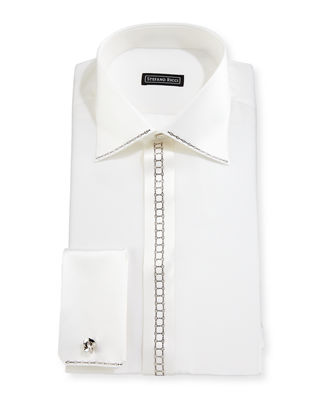 STEFANO RICCI CRYSTAL-PLACKET SILK FRENCH-CUFF TUXEDO SHIRT, WHITE