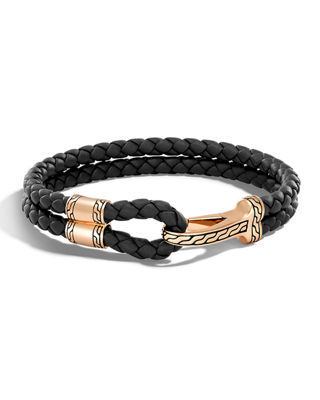 John Hardy Men's Classic Chain Braided Leather Hook