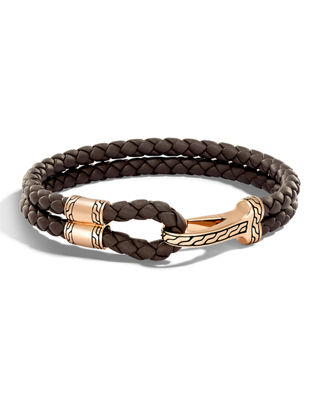 Marco Dal Maso Mens Woven Leather/Silver Chain Bracelet w/ 18k Gold-Plated Clasp, Black