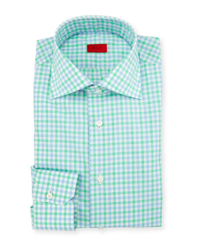 Two-Tone Gingham Mitered-Cuff Dress Shirt