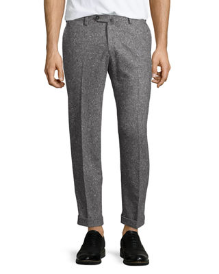 Isaia Donegal Flat-Front Trousers