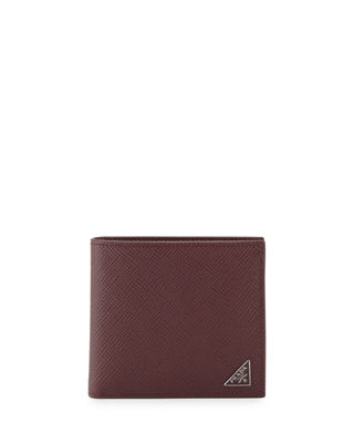 Image 1 of 4: Saffiano Leather Corner-Logo Wallet