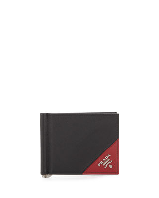 Saffiano Leather Contrast-Corner Money Clip