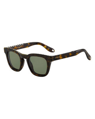 GIVENCHY STUDDED SQUARE SUNGLASSES, DARK BROWN