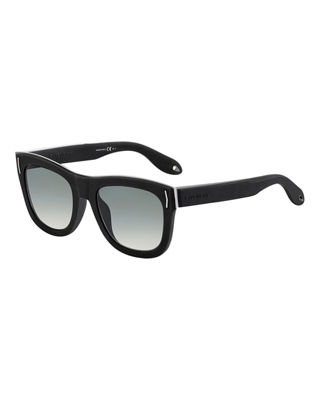 Givenchy Metal & Rubber Square Sunglasses, Black/Gray