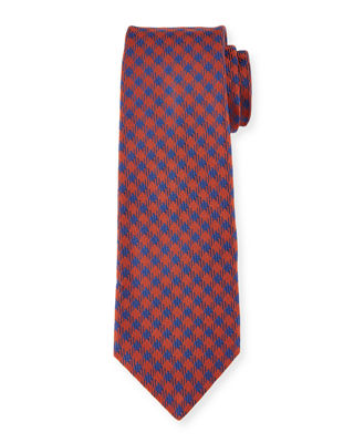 Image 1 of 2: Woven Check Silk Tie