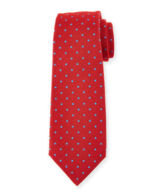 Woven Dot-Pattern Twill Silk Tie