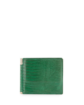 Lizard & Leather Bi-fold Wallet W/Money Clip