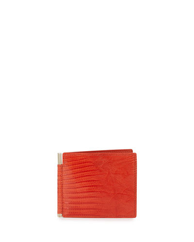 TOM FORD Lizard & Leather Bi-fold Wallet W/Money Clip