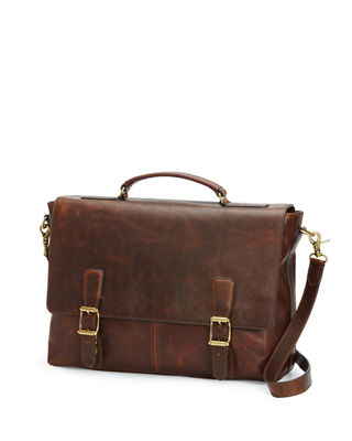 FRYE Logan Leather Briefcase - Brown in Dark Brown