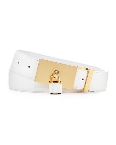 Buscemi Padlock-Buckle Leather Belt