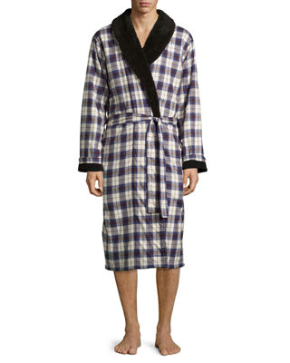 Kalib Plaid Twill Fleece-Lined Robe