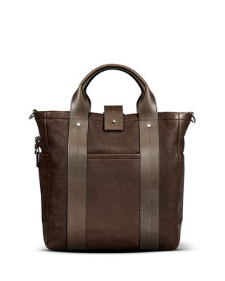 Men's Leather Commuter Tote Bag
