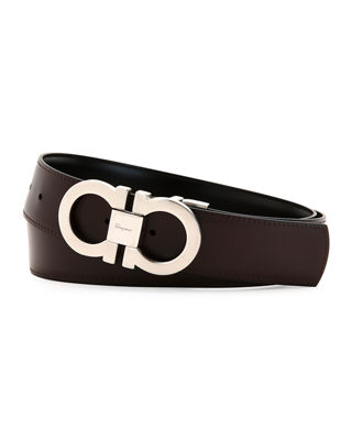 Salvatore Ferragamo Men's Reversible Leather Gancini Belt Boxed