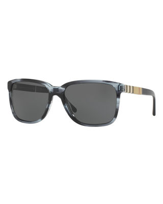 Burberry Men's Rectangular Heritage Check Sunglasses