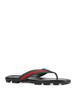 Gucci Web & Leather Thong Sandal