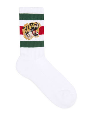 Gucci Stretch-Cotton Socks w/Tiger